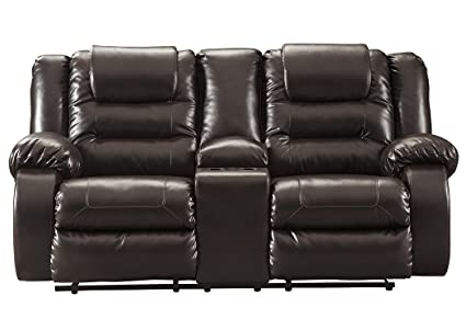 Swell Signature Design By Ashley 7930794 Vacherie Reclining Loveseat With Console Chocolate Onthecornerstone Fun Painted Chair Ideas Images Onthecornerstoneorg