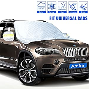 Car Windshield Snow Cover, Weatherproof Aluminum Film Ice Frost Rain Shade Protector with Windproof Strap Hooks, Rearview Mirror Wings, Magnets, Fits for SUV, Vans, Truck, Universal Cars
