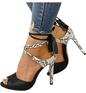 5b708078ed18f Womens Peep Toe Platform Stilettos Pumps High Heels Strappy Lace Up Dress Sandals  Shoes