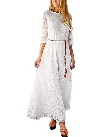 sekitoba-japan.inc Lace White 3/4 Sleeve a line Maxi Dress for