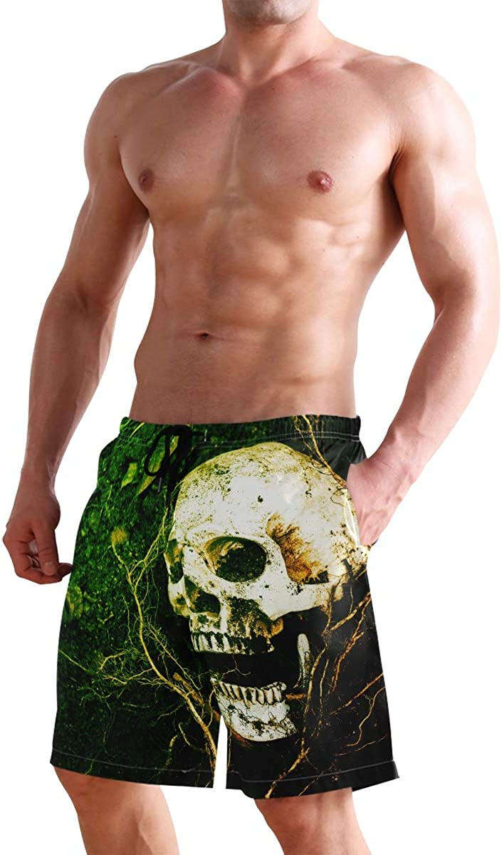 WIHVE Mens Beach Swim Trunks Shantou Skull Boxer Swimsuit Underwear Board Shorts with Pocket