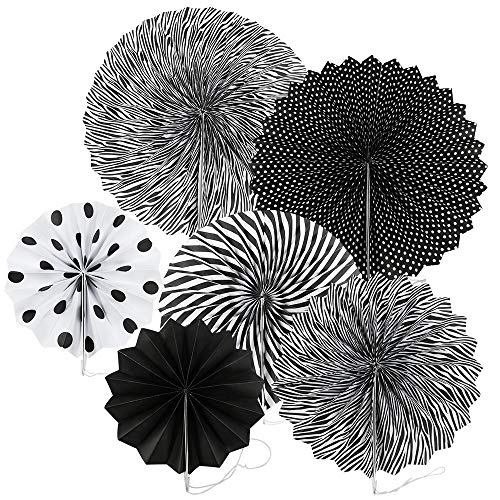 Chosky Party Hanging Paper Fans Set, Black Round Paper Garlands Folding Fans Wall Hanging Fan Decoration for Birthday Wedding Graduation Events Accessories, Set of 6