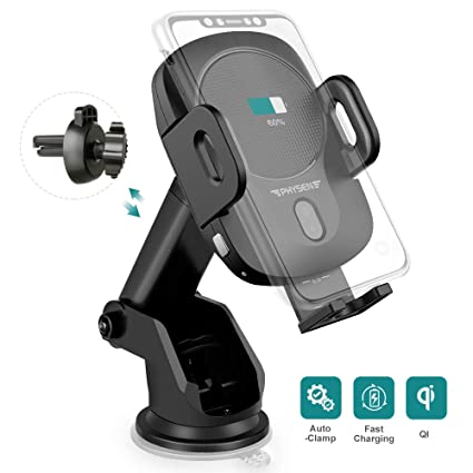 Wireless Car Charger Mount Auto-Clamping Car Phone Holder Wireless Charger PHYSEN QI 10W Fast Charging Car Mount on Air Vent Dashboard or Windshield ...