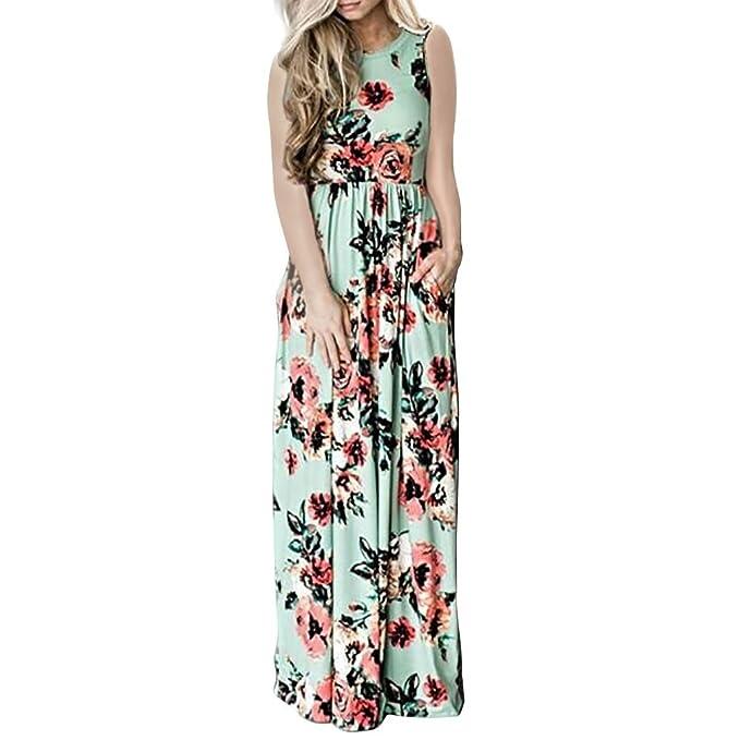 7d6341036 Vestido de Verano Largo Cuello Redondo Sin Mangas Estampado Floral Casual  Pocket Vintage Vestido Largo Playa