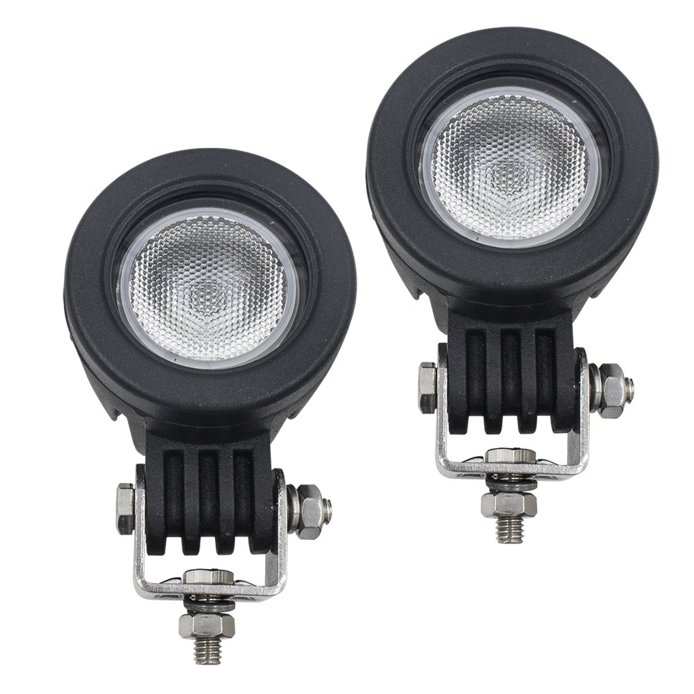 WEISIJI 10W Mini Trail Light Cree Auto Led Offroad Flood Driving Lights Fog Lamp for Bicycle Motorcycle Jeep Wrangler (2PCS Flood Beam)