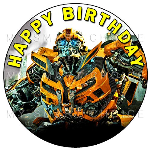 7.5 Inch Edible Cake Toppers - Transformers: Bumblebee Themed Birthday Party Collection of Edible Cake Decorations