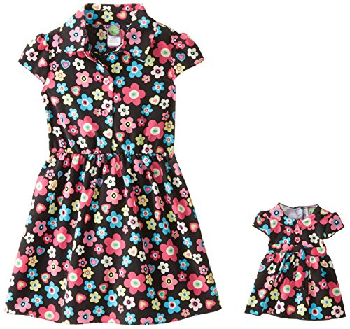 - Dollie & Me Little Girls' Floral Shirtdress, Black/Turquoise, 6X
