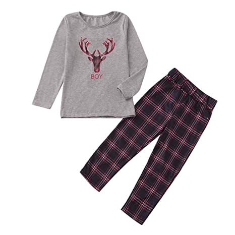 8834d6db15 Voberry  Christmas Family Matching Pajamas Set Christmas Antler Sleepwear  The Family Boys Girls Parent Child Plaid Holiday Nightwear Lounging PJs Set  ...