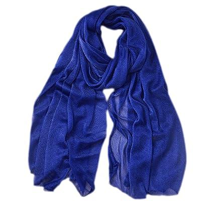 Da.Wa Accessoires de vêtements pour femmes printemps et automne châles simple style écharpes de couleur unie bleu foncé
