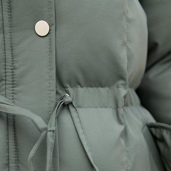 TSINYG Chaqueta con capucha floja de la moda de las mujeres suelta el invierno del estudiante abrigos largos calientes (Color : Army green , Tamaño : S) : ...