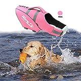#1: BOCHO Wave Rider's Reflective Dog LifeJacket, Super Buoyancy and EVA lining ,Adjustable Dog Safety Vest. (Medium, pink)