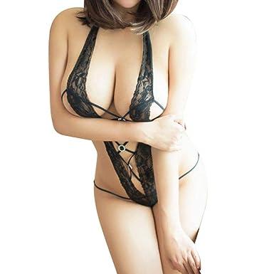 372ceb8b07 JACKY-Store Women s Lingerie Lace Underwear Babydoll Sleepwear G-String  Thong Deep V Halter See Through Nightgown Nightwear Babydoll Stylish  Comfortable ...