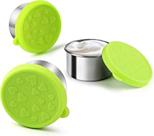 FANGSUN Dressing Containers to Go for Condiments, Salad Dressing, Dips, Snacks, Stainless Steel Dipping Sauce Cups, Fits in Bento Box for Lunch, Mini Food Storage Containers with Lid (Green)