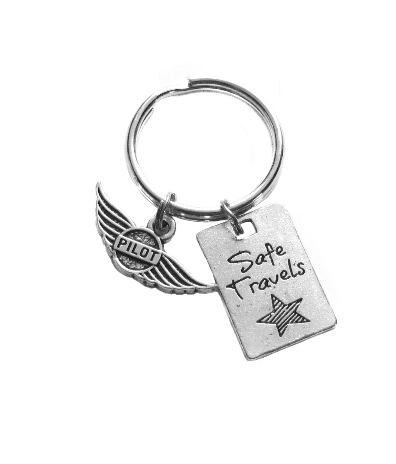 Heart Projects Pilot Safe Travels Charms Keychain Bag Luggage Gift