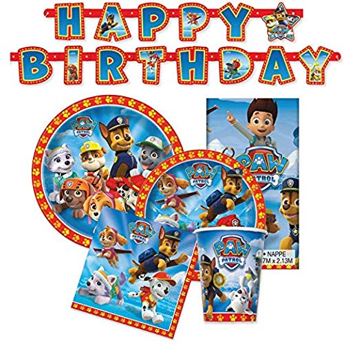 Paw Patrol Birthday Party Supplies - Tableware for 16 Guests + Decorations (Original Version)