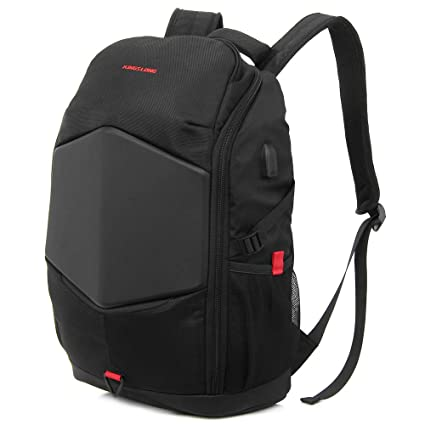 c0ec67b36bb Laptop Backpack 17.3 Inch Gaming Backpack with USB Charger Port Rain Cover  Waterproof Business School Travel Bags for Men Women KINGSLONG(Black)  ...