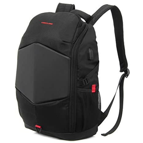 Laptop Backpack 17.3 Inch Gaming Backpack with USB Charger Port Rain Cover  Waterproof Business School Travel Bags for Men Women KINGSLONG(Black)  ... 07004ad675da4