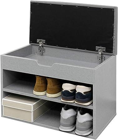 ECD Germany Banc de Rangement à Chaussures Gris MDF 60x30x43cm avec Coussin de siège Range Chaussures Meuble de Rangement Chaussures