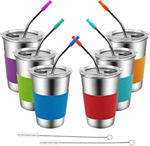 Spill Proof Cups for Kids,6 Pack Stainless Steel Kids Cup with Straw and Lid,Unbreakable Tumbler DrinkingGlasses, BPA-FreeMetal Sippy Water Mug for Toddler, Children, Adult, Indoor, Outdoor (16oz)