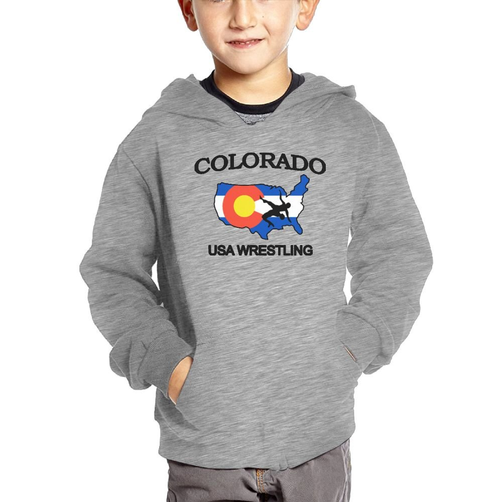 Oshrily Colorado Wrestling Map Kids Hooded Sweatshirt Pocket Pullover 4 Toddler by Oshrily