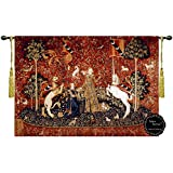 """[FREE SHIPPING] Taste-The Lady and the Unicorn 47""""Wx34""""L Medieval Jacquard Woven Wall Hanging Tapestry"""
