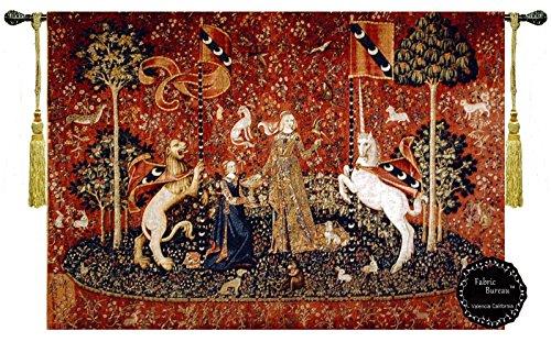 Jacquard Tapestry Fabric - Fabric Bureau Beautiful The Lady and The Unicorn-Taste Fine Tapestry Jacquard Woven Wall Hanging Art Decor