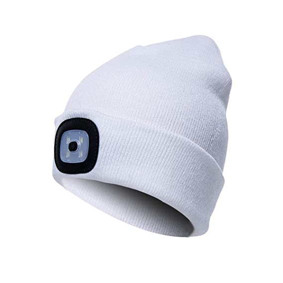 0167e263b96597 Ultra Bright LED Lighted Knit Beanie Cap, Unisex Lighted Headlamp Hat, Perfect  Hands Free