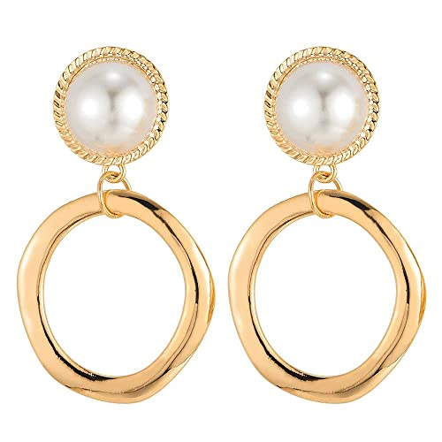 7ed1fb46fe2c7 Amazon.com: Stylish Synthetic Pearl Stud Statement Earrings ...