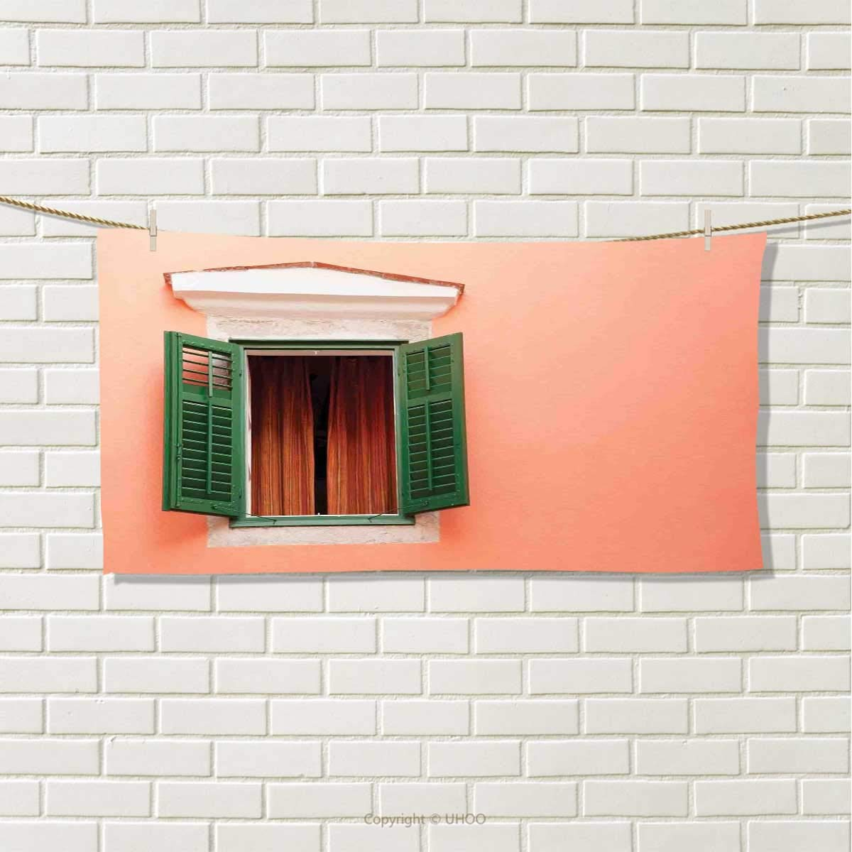 Anshuone Country,Travel Towel,Mediterranean Style Image of Window and Shutters Old House Rural Rustic,100% Microfiber,Orange Green White,Size: W 12'' x L 27.5''