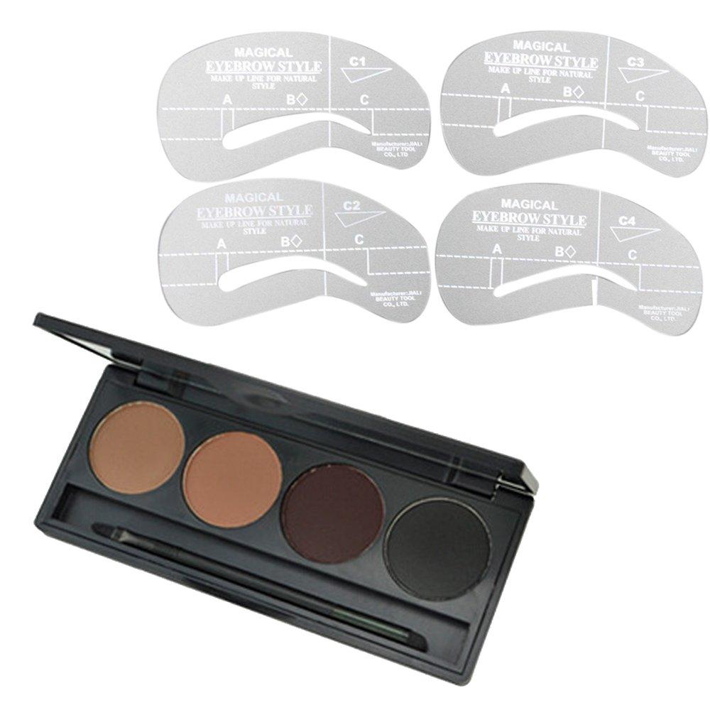Elisona-6 Color Concealer with 4 PCS Makeup Cosmetic Foundation Powder Blush lip Eyeliner Eyebrow Brush 1 PCS Sponge Puff Beauty Tool