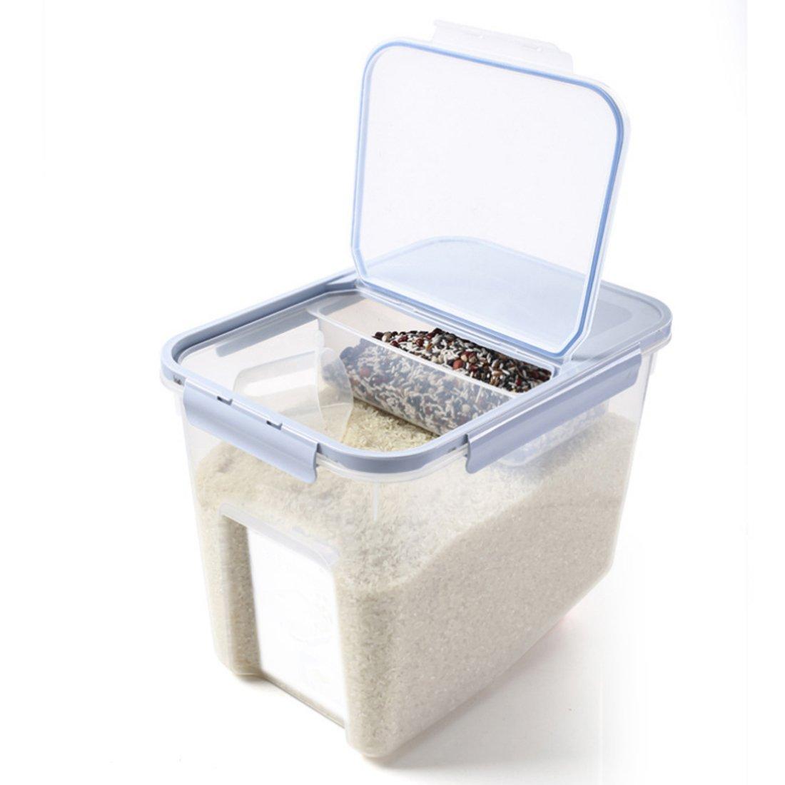 Likeluk Contenitore dispenser portatile da 10 kg in plastica alimentare per farina, cereali, legumi, riso, contenitore sigillato