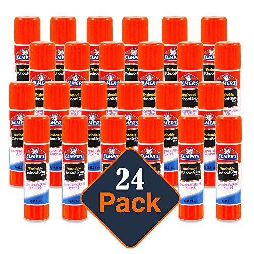 Elmers Stick Glue (Elmer's Disappearing Purple School Glue, Washable, 24 Pack, 0.21-ounce sticks)