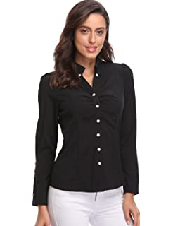 c802c77e7d71d MISS MOLY Button Down Shirts for Women White Collar V Neck Ruched Long  Sleeve Tops Casual