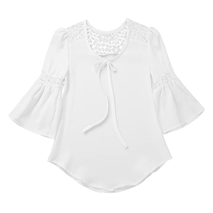 7f83ea0322534 ranrann Kids Girls 3 4 Bell Sleeves Lace Splice Top Loose White Blouse  Casual Spring