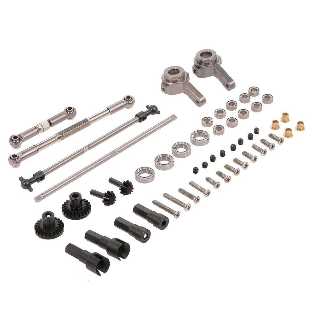 Leslaur WPL Parts Set Front and Rear Gear Driver Shaft Pull Rod Steering Hub for WPL C14 C24 B14 B24 B16 B36 RC Truck