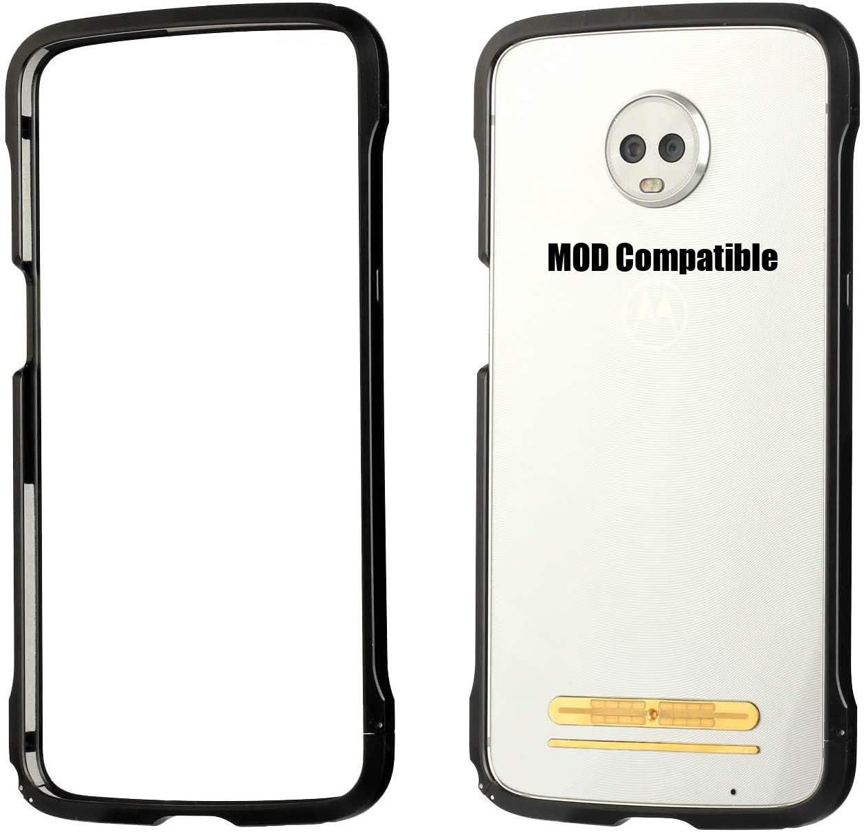 Moto Z3 Case, Moto Z3 Play Metal Bumper Case Compatible Moto Mod Luxury Aluminum Alloy Frame Buckle Locking Protective Case for Motorola Moto Z3 / Z3 Play (Black)