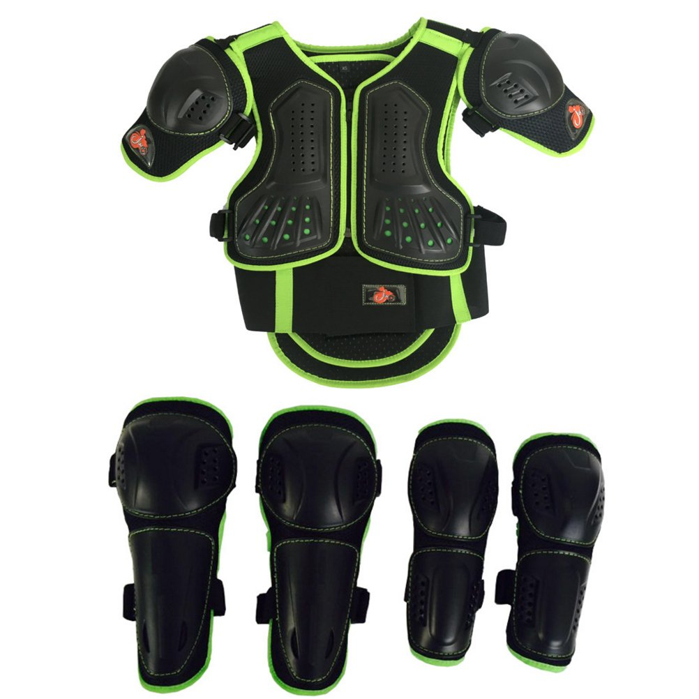 Takuey Kids Motorcycle Armor Suit Dirt Bike Chest Spine Protector Back Shoulder Arm Elbow Knee Protector Motocross Racing Skiing Skating Body Armor Vest Sports Safety Pads 3 Colors (Green, S)