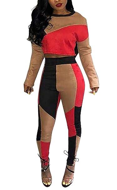 Mujer Ropa Casual Crop Top Moda Pantalones Splice Set Otoño Mode ...