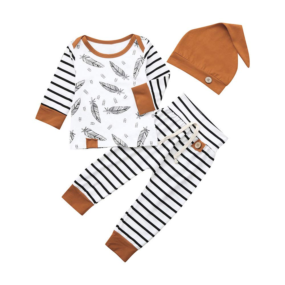 Spring Baby Sets,Jchen Unisex Newborn Baby Boy Girl Feather Print Tops Striped Pants 3 PCS Outfits for 0-24 Months