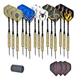 Eluck Steel Tip Darts, 15 Piece Metal Darts Set with Dart Sharpener and 3 Extra Flights, Aluminum Shafts & Brass Barrels, Perfect for All Levels in Every Rec Room, Bar and Game Room