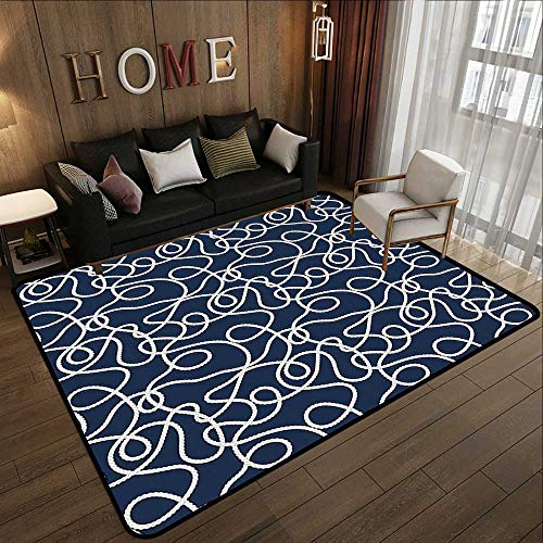 Custom Floor mats,Navy,Under The Sea Atlantic Ocean Inspired Tangled Boat Ship Marine Ropes Image,Navy Blue and White 78.7