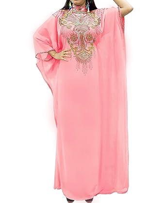 2c28067aee7c African Boutique Gold Beaded Kaftan for Women ¾ Sleeve - Hidden Belt - Chiffon  Kaftan Dresses for Women at Amazon Women's Clothing store: