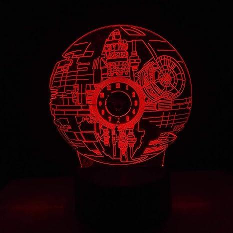 KangYD Luz 3D/Fans de cine 3D Led Death Star Clock Night Light 7 ...