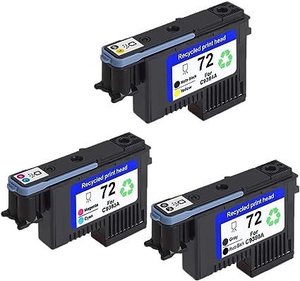 Karl Aiken 3 x C9380 A C9383 A C9384 A cabezal de impresión compatible para HP 72 designjet T1100 T1120 t1120ps T1200 T1300 t1300ps T2300 T610 T770 T790 T795 (cabezal de impresión):