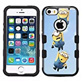 for iPhone SE/5/5s, Hard+Rubber Dual Layer Hybrid Heavy-Duty Rugged Armor Cover Case - Minions #H