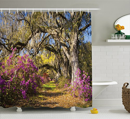 Americana Landscape Decor Shower Curtain by Ambesonne, Flowers in Charleston South Carolina Azalea Blooms Oak Tree, Fabric Bathroom Decor Set with Hooks, 70 Inches, Violet Purple