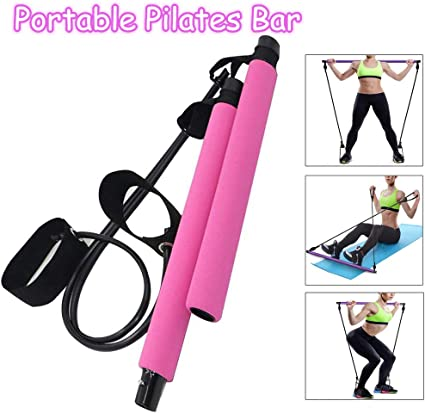 Portable Pilates Bar Kit Long Resistance Band Bar Fitness Pilates Bar Gym Stick Yoga Exercise Bar with Foot Loop for Bodybuilding Workout