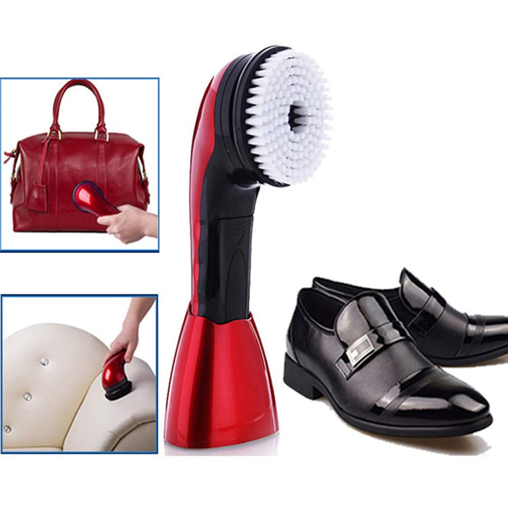 ZRB Electric Shoe Polisher Multi-Functional Portable Shoe Polisher Handheld Leather Cleaning Device, Red