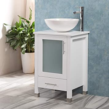 Amazon Com Qierao 20 Bathroom Vanity With Sink Combo Stand Cabinet And White Ceramic Vessel Sink And Stainless Steel Faucet White Kitchen Dining