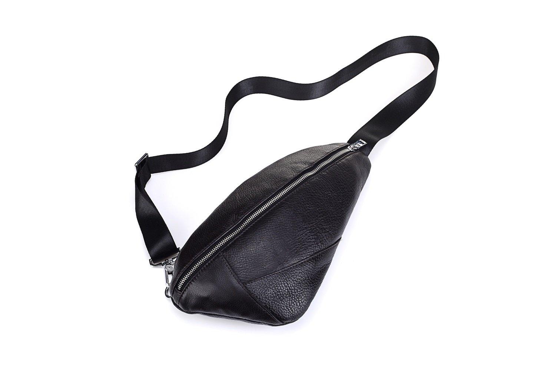 MUMUWU Men's Chest Sports Backpack Shoulder Bag Leather Crossbody Korean Sole Leather (Color : Black, Size : M)